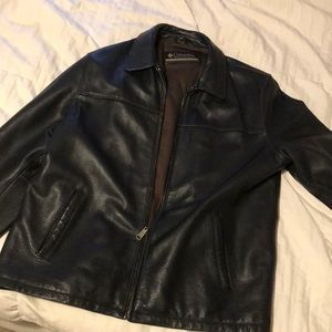 MENS Genuine Black Leather Columbia Coat